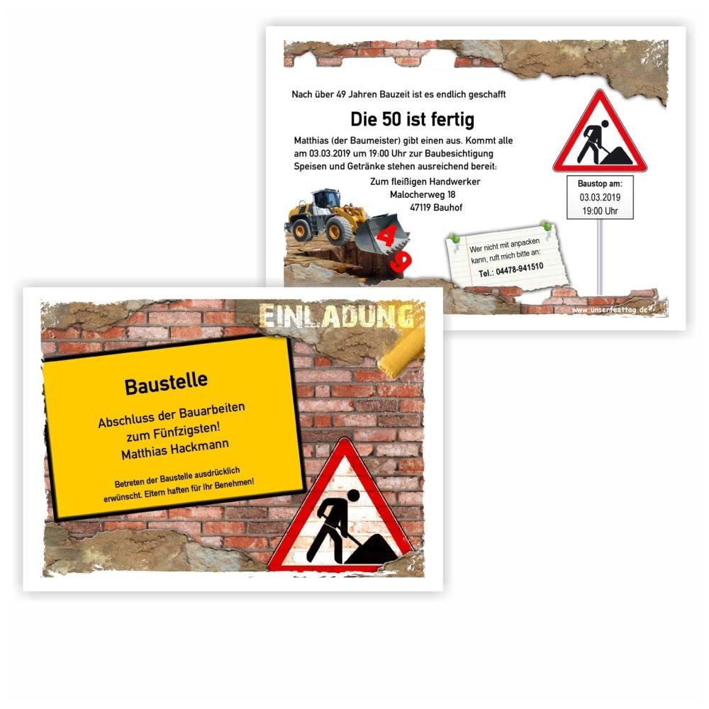 Einladungskarte zum Geburtstag Motiv Baustelle mit Bagger zweiseitig ...