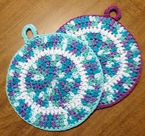 Amazon Hand Crocheted Large Round Potholders Double Thick