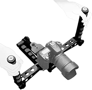Ivation Pro Steady DSLR Rig System with Shoulder Mount for Video Stabilization for DV Cameras/Camcorders - Compact & Travel Size - Grey