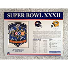 Super Bowl XXXII (1998) - Official NFL Super Bowl Patch with complete Statistics Card - Denver Broncos vs Green Bay Packers - Terrell Davis MVP