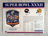 super bowl 32 patch - Super Bowl XXXII (1998) - Official NFL Super Bowl Patch with complete Statistics Card - Denver Broncos vs Green Bay Packers - Terrell Davis MVP
