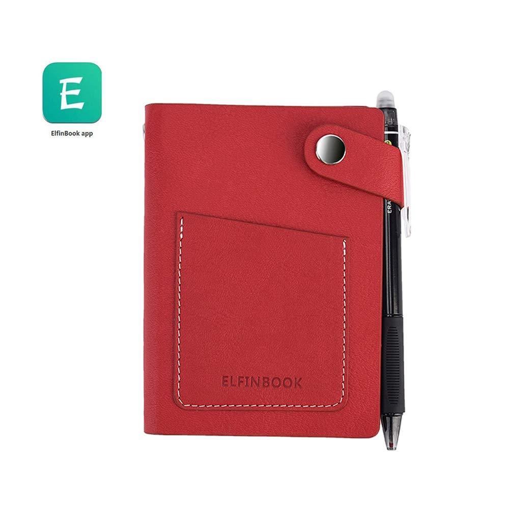 2018/New Elfinbook mini Smart notebook Paper Notepad diario in pelle sintetica riutilizzabile cancellabile Mini red Traveler regalo