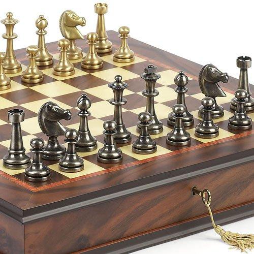 Bello Games Collezioni - Bello Stefano Solid Brass Staunton Chessmen & Luxury Milano Cabinet Board from Italy