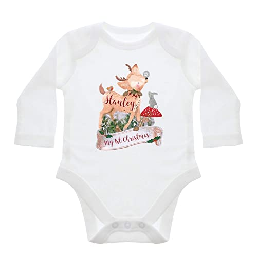 545e57844 Personalised Festive Fawn 3-6 Months Long Sleeved Baby Vest  Amazon ...