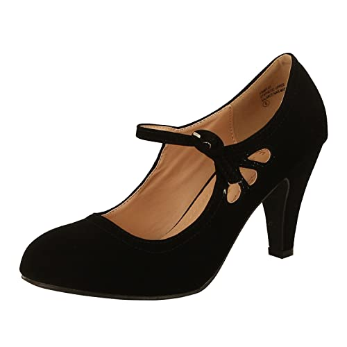 Chase & Chloe Women's Kimmy-21 Regular |Mary Jane | Mid Heel Shoes,6 B(M) US,Black Nubuck best women's dressy heels