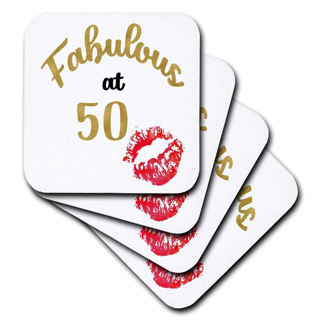 3dローズAnne Marie Baugh – Wordアート – Fabulous At 50 with Kissing赤い唇Wordアート – コースター set-of-4-Ceramic レッド cst_264890_3 set-of-4-Ceramic  B076XM365Y