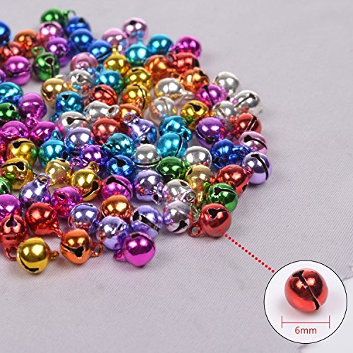 Jingle Bell Necklace Craft - LaVieEnRose 100pcs 6mm For Christmas Copper Made Fashion Jingle Bell/ Small Bell/ Mini Bell for DIY Bracelet Anklets Necklace Knitting/ Jewelry Making Accessories (Random Color)