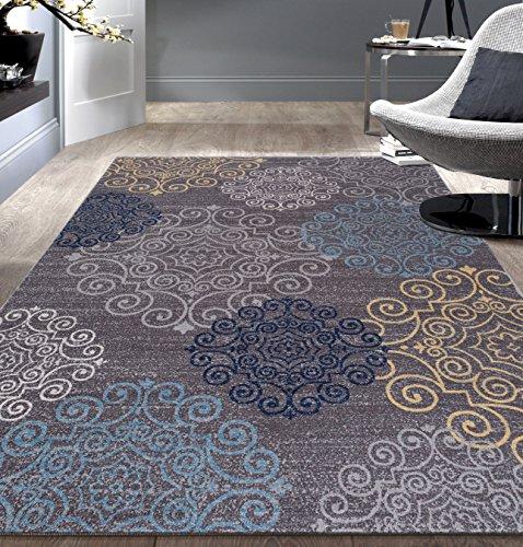 5x7 Floral Designs - Modern Floral Swirl Design  Non-Slip (Non-Skid) Area Rug 5 X 7 (5' 3