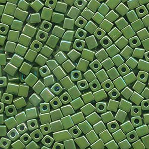 - 20Gr Opaque Grass Green Rainbow Miyuki 4mm Square Cube Glass Seed Beads