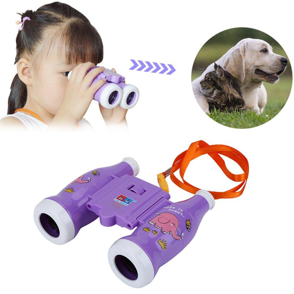 Kids双眼鏡6倍ミニ軽量望遠鏡withストラップ子供教育幼稚園おもちゃで鳥、野生生物や景色を見、コンパクト双眼鏡 B07558KX4S  パープル