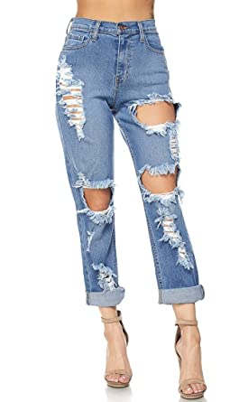 f2aae57c8e SOHO GLAM High Waisted Distressed Mom Jeans at Amazon Women's Jeans ...