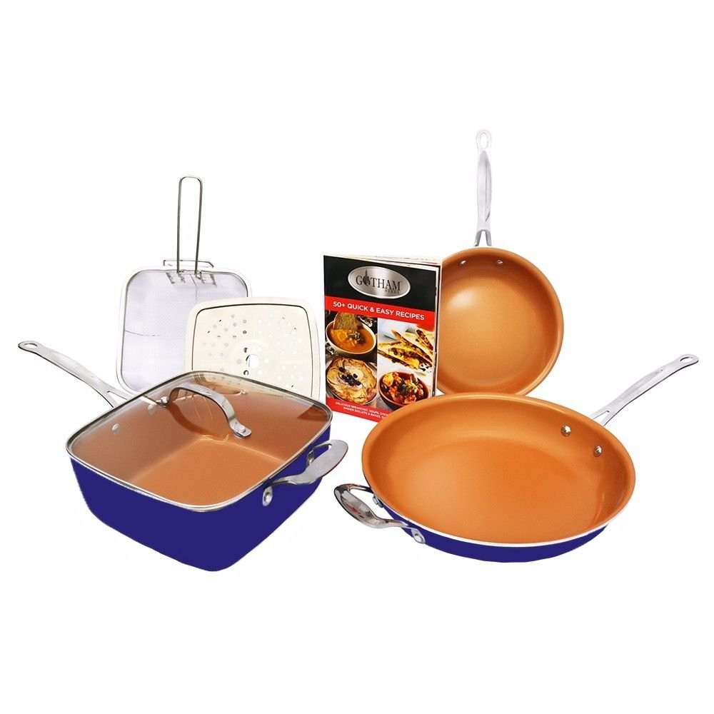 Gotham Steel 1739 Cookware Set, Large, Blue