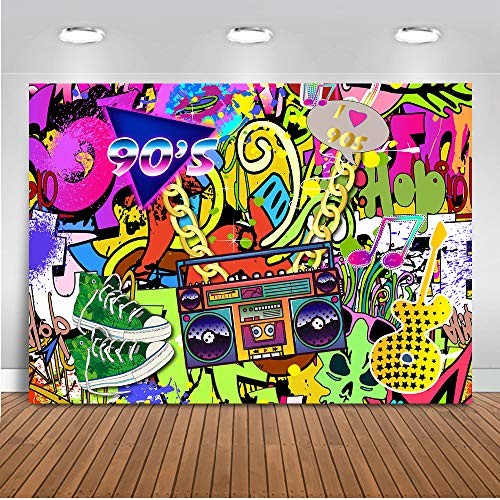 Mocsicka Hip Hop 90's Backdrop 8x6ft I Love 90s Background Graffiti Wall Photography Background Adult Birthday Back to 90s Party Retro Style Radio Portrait Photo Studio Props]()