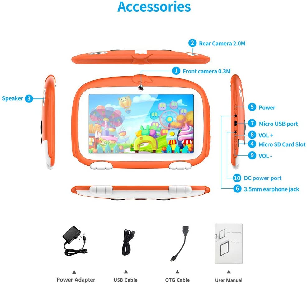 Parental Control Kids Software Pre-Installed with Kids-Proof Case. Kids Tablet 7 inch Android 9.0 Kids Edition Tablet with WiFi,GMS Certified,Dual Camera Children Tablet 2GB+16GB