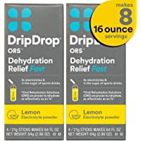 DripDrop ORS Electrolyte Hydration Powder Sticks, Lemon Flavor 2-Pack, Makes (8) 16oz Servings