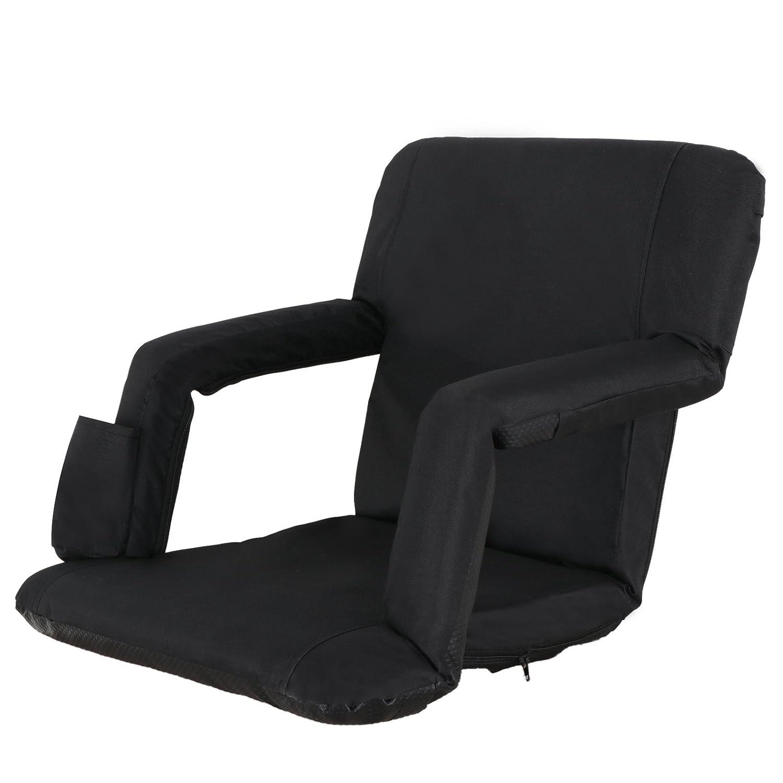 smartxchoicesポータブルスタジアムシート椅子、リクライニングシートfor Bleachersまたはベンチとパッド入りクッションバックパックストラップ簡単にTransport B07BDKG17V ブラック ブラック