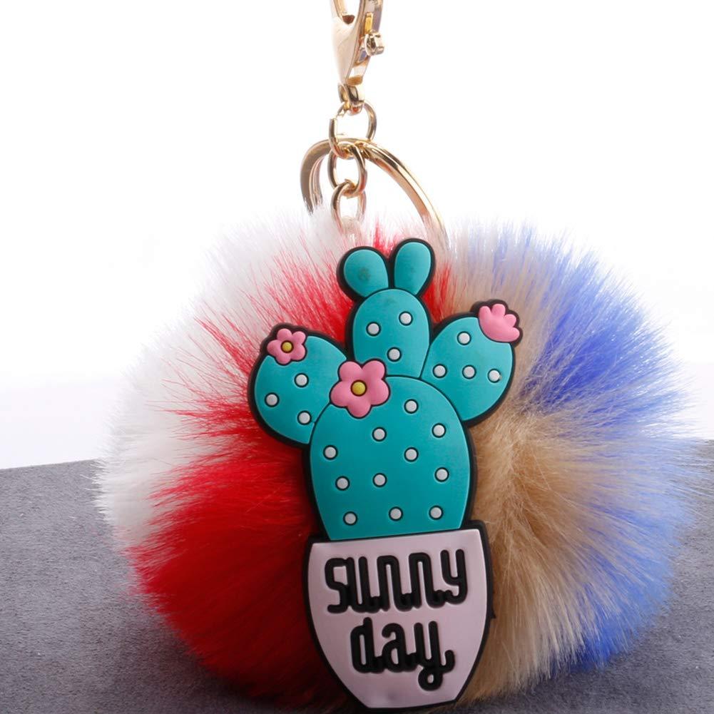 Slendima 3.15'' Lovely Silicone Cactus Fluffy Ball Keyring Car Key Chain Handbag Decor Gift 7# by Slendima (Image #2)