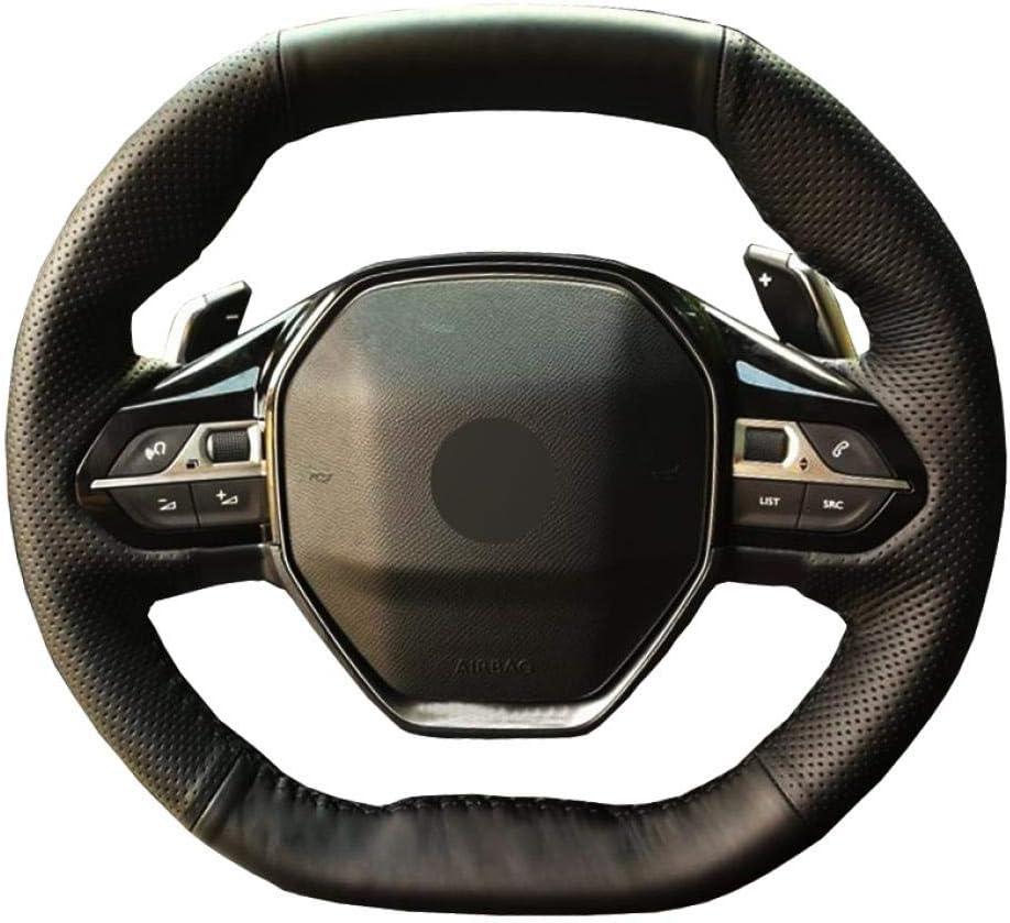 e-208 2020 para Peugeot 3008 4008 2016-2019//5008 2017-2019//508 2019//208 2019 2020 Seven Continents Cubierta del Volante Cosida a Mano Rifter 2018 2019 Negro PU Cuero sint/ético Cosido a Mano