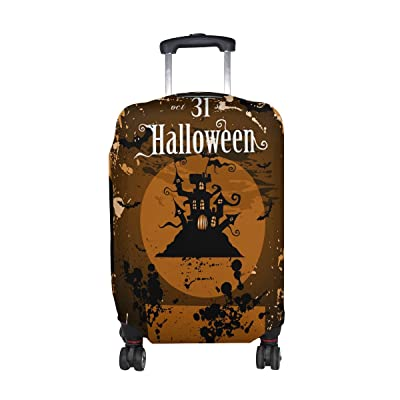 LORVIES Halloween Night Print Travel Luggage Protective Covers Washable Spandex Baggage Suitcase Cover - Fits 18-32 Inch