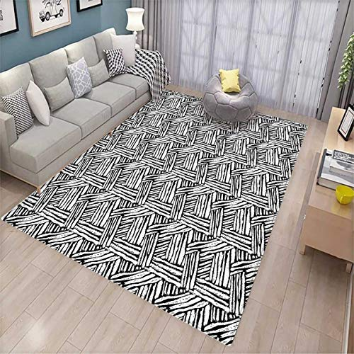 Black and White Bath Mat 3D Digital Printing Mat Hand Drawn Doodle Style Sketch Brush Strokes Effect Traditional Ink Art Door Mat Increase Black (7' Deep Steam Table)