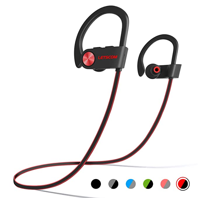 Letscom Bluetooth Headphones Ipx7 Waterproof, Wireless Sport Earphones Bluetooth 4.1, Hi Fi Bass Stereo Sweatproof Earbuds W/Mic, Noise Cancelling Headset For Workout, Running, Gym, 8 Hours Play Time by Letscom