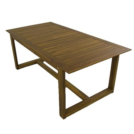 Mesa de Madera Teca para jardín o terraza, Rectangular, Madera Teca Grado A, Tamaño: 200x100x76 cm, Tratamiento al Agua aplicado
