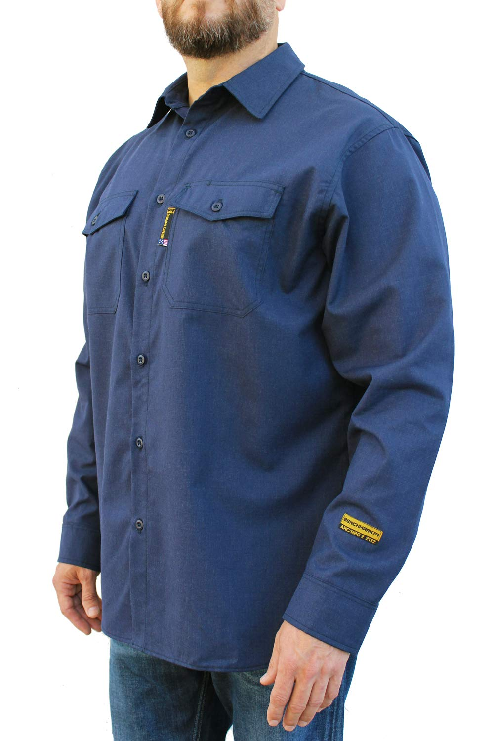 Benchmark FR Silver Bullet, 5.1 oz Ultra Lightweight FR Shirt, NPFA 2112 & CAT 2, Moisture Wicking, Men's FRC with 9 Cal rating, Made in USA, Advanced FR Materials, Navy, Large by Benchmark FR (Image #4)