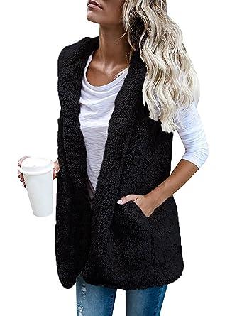 b2eab9543fab3 Womens Sleeveless Cardigan Fuzzy Vest Open Front Cardigan Jacket Black Small