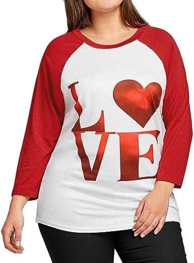 FAMILIZO Camisetas Mujer Tallas Grandes Camisetas Mujer Verano Tops Mujer Primavera Camisetas Mujer Manga Larga Algodon Tallas Grandes Mujer Fiesta Blusas Día de San Valentín: Amazon.es: Ropa y accesorios
