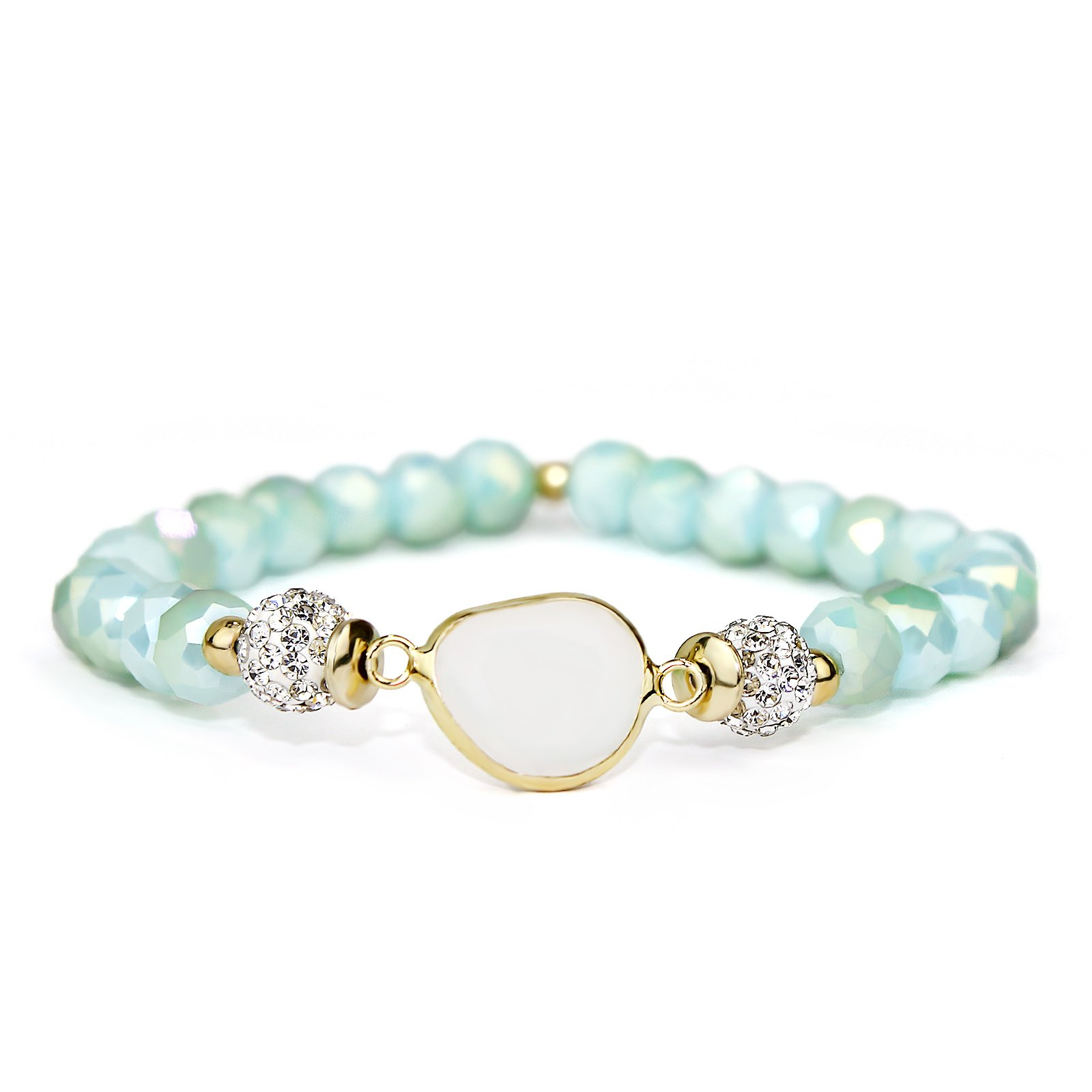 POMINA Faceted Glass Beaded Stretch Bracelets with Multi Pave Balls for Women (Mint)