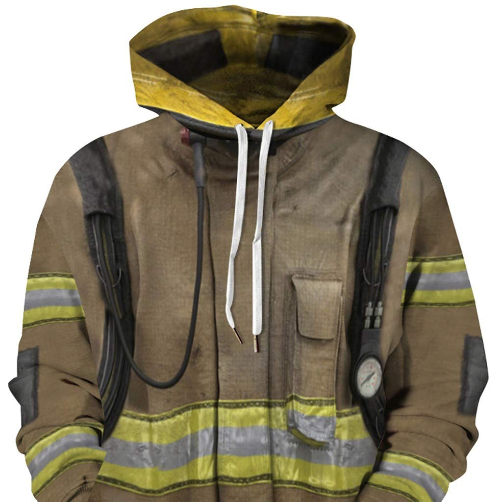 NIUQI Firemen Printed Hoodies Men Women Sweatshirts Hooded Coat Streetwear Tracksuits 3D Pocket Pullover