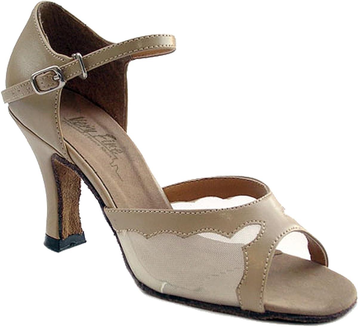 Very Fine Womens Salsa Ballroom Tango Dance Shoes Style 1616 Bundle with Plastic Dance Shoe Heel Protectors Tan Leather 7.5 M US Heel 3 Inch