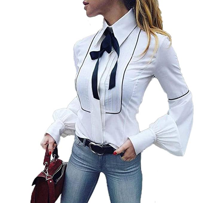 Camisa De Corbata De Oficina De Mujer, Blusa Manga Linterna BáSicas Blancas Tops (S