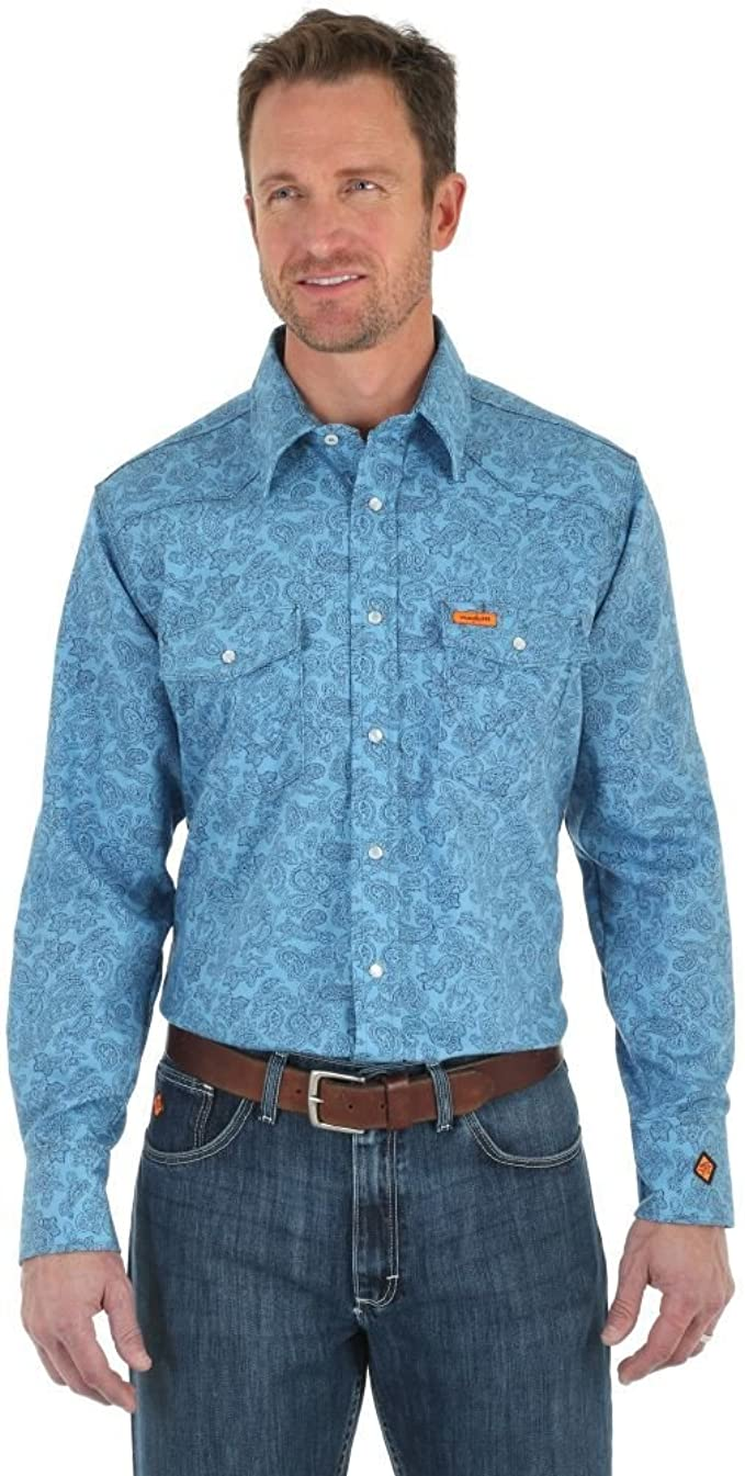Wrangler Mens Big /& Tall Flame Resistant Western Two Pocket Snap Shirt Work Utility Button Down Shirt