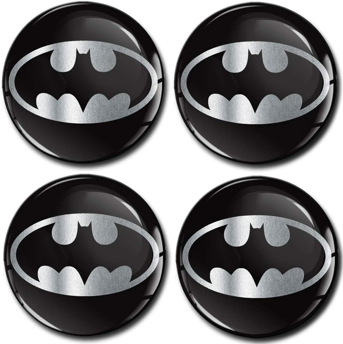 SkinoEu/® 4 x 56mm Aufkleber 3D Gel Silikon Autoaufkleber Stickers Batman Silber Felgenaufkleber F/ür Radkappen Nabenkappen Radnabendeckel Rad-Aufkleber Nabendeckel Auto Tuning A 7256