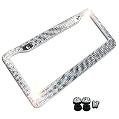 Zone Tech Shiny Bling License Plate Cover Frame - Crystal Bling Premium Quality Novelty/License Plate Frame with Mounting Screws: Automotive [5Bkhe0808867]