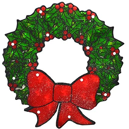 Christmas Wreath Silhouette.Sienna Lighted Double Sided Shimmering Christmas Wreath Window Silhouette Decoration 15