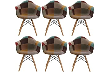 Thomas Wood Set Of 6 Patchwork Armchair - Mid-century Faux Leather Upholstered  Chair For b73d77637907c