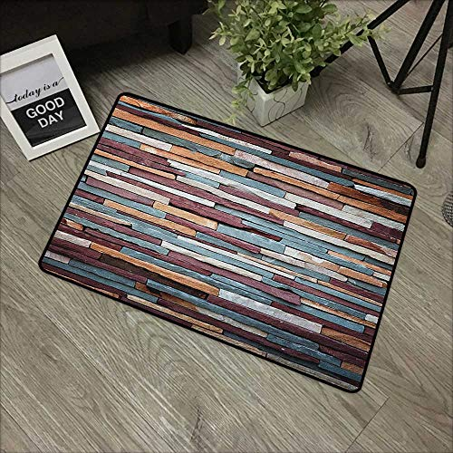 Bathroom door mat W35 x L59 INCH Urban,Colored Stone Surface Texture Background Retro Style Urban Brick Wall Image,Mauve Teal Ivory Our bottom is non-slip and will not let the baby slip,Door Mat Carpe