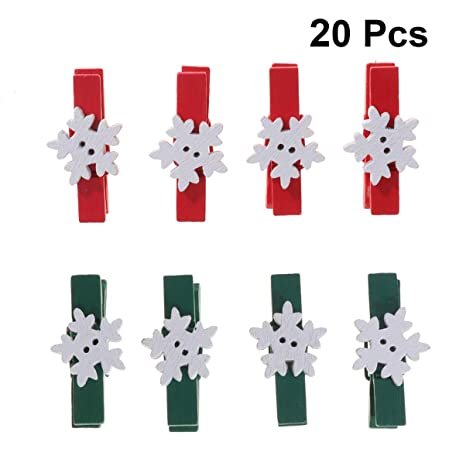 20 Wooden Card Pegs Christmas Tree Pegs Festive Card Pegs Christmas Card Pegs