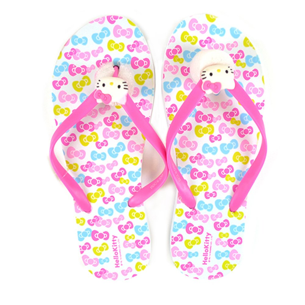 e1ea637cc Amazon.com | Sanrio Hello Kitty Adult Slippers/Flip Flops: Ribbons One-size  | Shoes