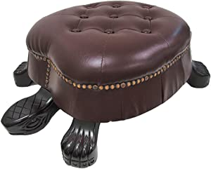 Things2Die4 Elegant Wooden Walnut Finish Brown Turtle Animal Shaped Ottoman Foot Stool - Faux Leather Ottoman Brass Tack Accents