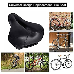 "Bicycle Seats Comfort Artificial Leather Bike Seat Gel, 10.6"" x 8.25 "", Tonbux Bike Seat Replacement with Bicycle Reflective Tape Dual Shock Absorbing Ball with Mounting Wrench-Black"
