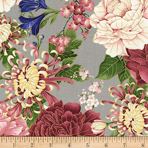 (Timeless Treasures 0561309 Metallic Sakura Chrysanthemums & Peonies Grey Fabric by The Yard,)