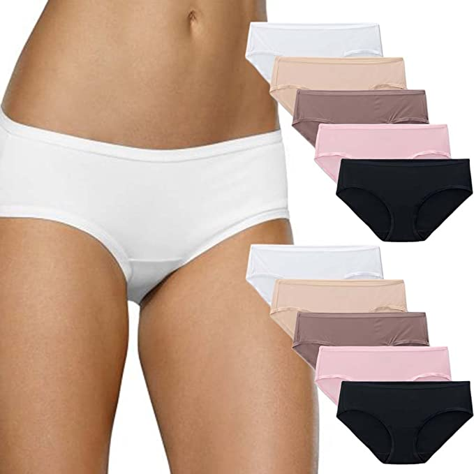 3c1e5dd7a7e7 Fruit of the Loom 10 Pack Womens Microfiber Low Rise Hipster Panties  Underwear Briefs Tag Free: Amazon.ca: Clothing & Accessories