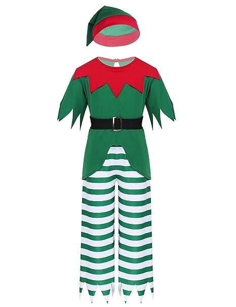 YiZYiF Disfraz Duende Elfo Niños Niñas Traje Pijamas Navidad 3Pcs ...