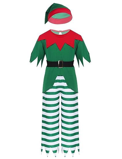 YiZYiF Disfraz Duende Elfo Niños Niñas Traje Pijamas Navidad ...