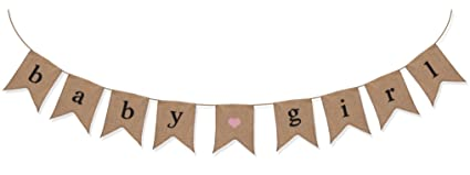 amazon com baby girl burlap banner baby shower decorations for