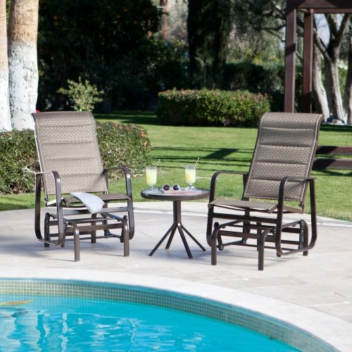 Bronze-hued Single-seat Patio Glider Set with Padded Sling Seats and Aluminum Frames (Set of 2) - Includes FREE Glass-top Round Side Table - Aluminum Sling Glider