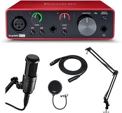 Focusrite Scarlett Solo - Interfaz de audio USB de 3ª generación con micrófono AT2020, soporte Knox Gear Studio, cable XLR, soporte de choque y filtro pop (6 unidades): Amazon.es: Instrumentos musicales